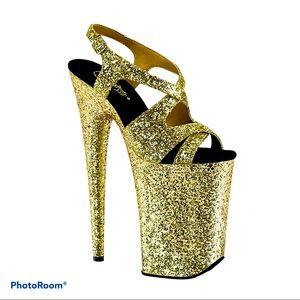 Pleaser Infinity Platform Sandal Gold Flake Size 6